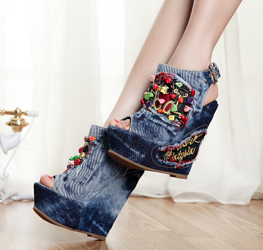 2017 New Summer Women Wedge High Heel Chunky Heel Open The Toe Buckle Fashion Denim Sandals Shoes Size 34-40 SXQ0709 europe america style spring autumn women genuine leather thin high heel lace up low cut fashion denim shoes size 34 41 sxq0709
