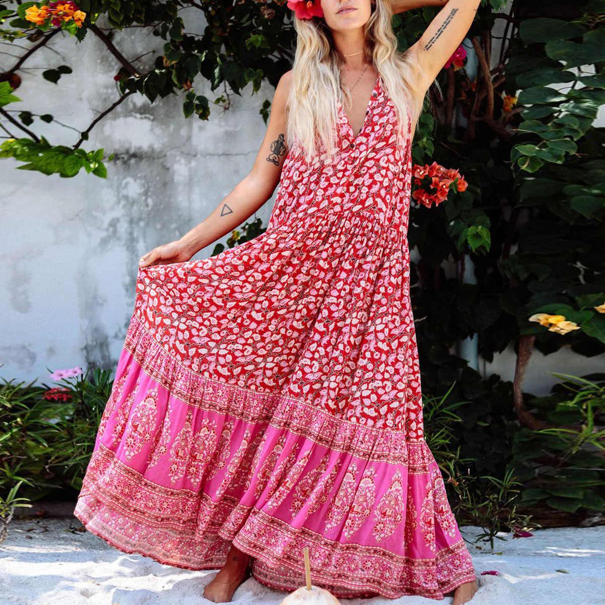 f9fc34470aac ... Red Print Women Dress Boho Hippie Chic Beach Dresses V-Neck Sleeveless Summer  Dress Flowy ...