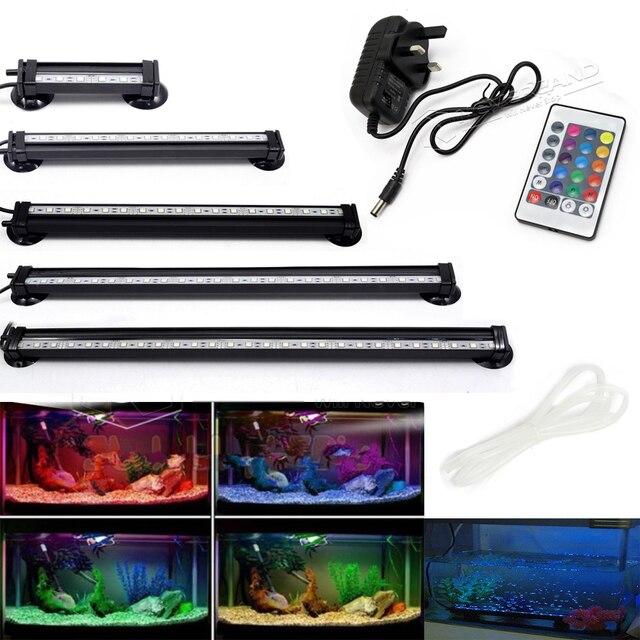 Аквариумный светильник ing 5050 RGB с вилкой для Великобритании, США, ЕС, светодиодный светильник для аквариума с кислородом и воздушными пузырь...
