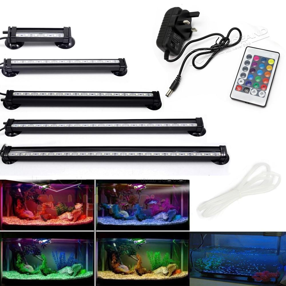 UK US EU Plug 12-46CM 5050 RGB <font><b>LED</b></font> Aquarium Fish Tank Submersible <font><b>Light</b></font> Air Bubble Lamp Remote New
