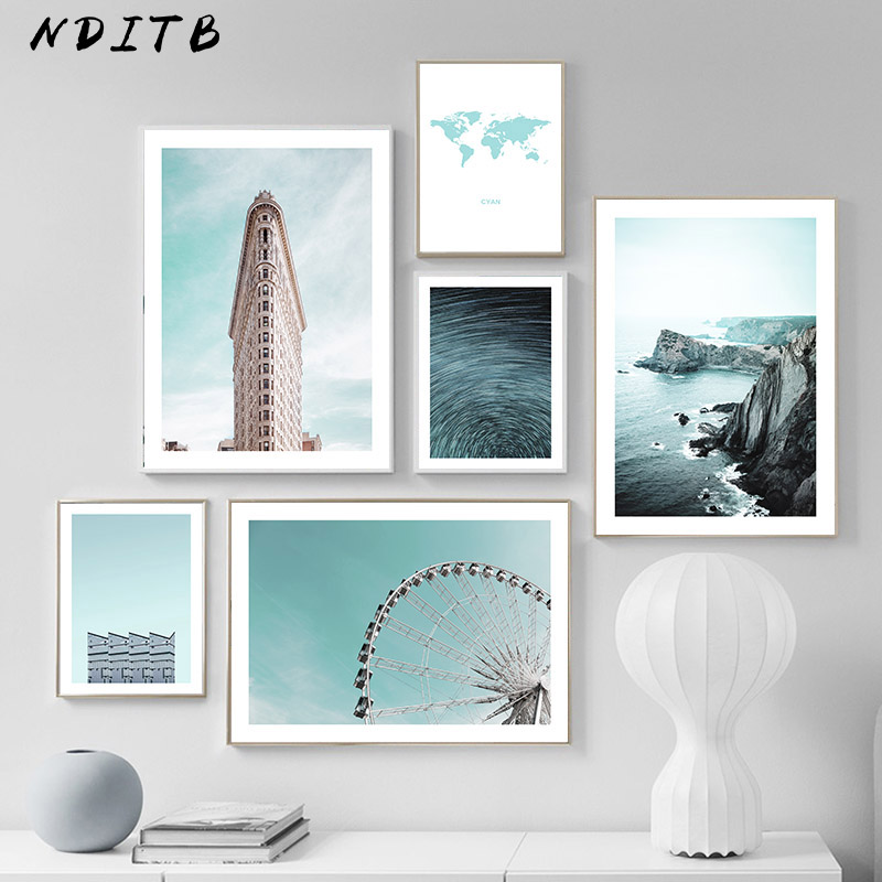 Scandinavian Landscape Picture Architecture Building Poster Canvas Wall Art Print Painting Nordic Style Modern Room Decoration
