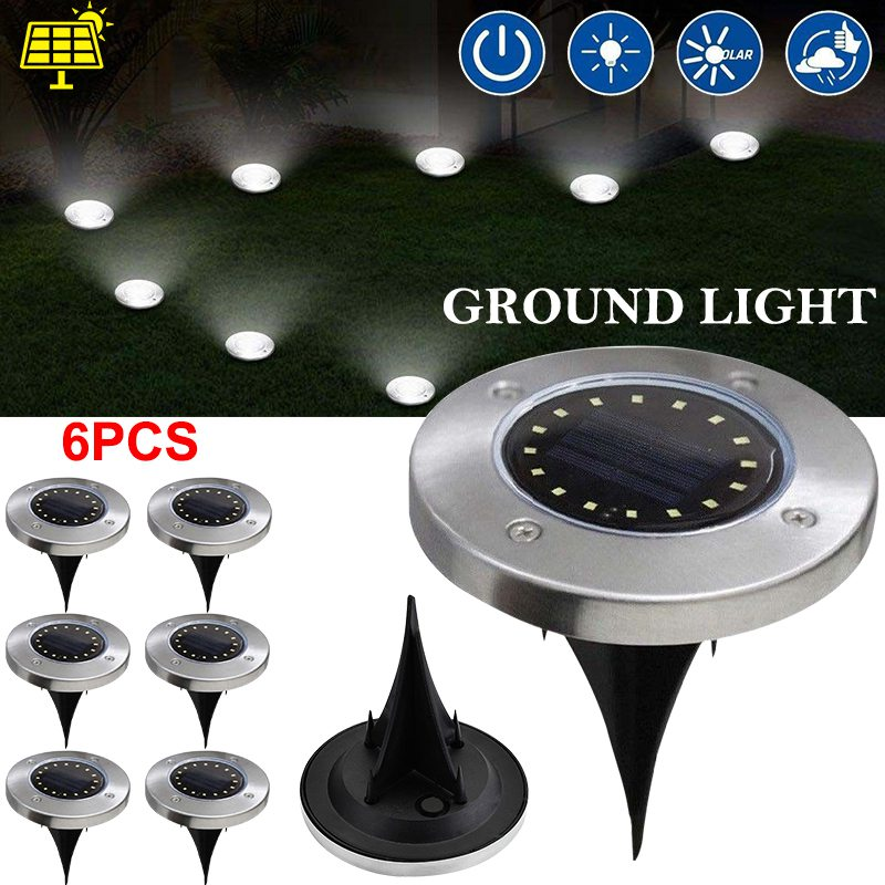 Led Underground Lamps 6 Pack/lot 16 Led Solar Ground Lamp Buried Garden Light Waterproof Sensor Outdoor Path Way Light Decking Lampe Solaire Exterieur