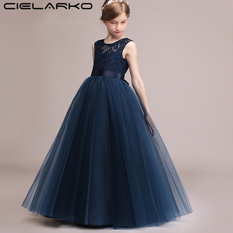 Cielarko Girls Dress Mesh Lace Wedding Party Children Dresses Ankle Length Elegant Ball Gowns Baby Frocks Clothing for Girl teenage girl party dress children 2016 summer flower lace princess dress junior girls celebration prom gown dresses kids clothes