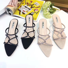 Wellwalk Women Dress Heel Slipper Crystal Straps Ladies Sparkle Sandals Female Wedding Party Slippers Luxury Brand Slides