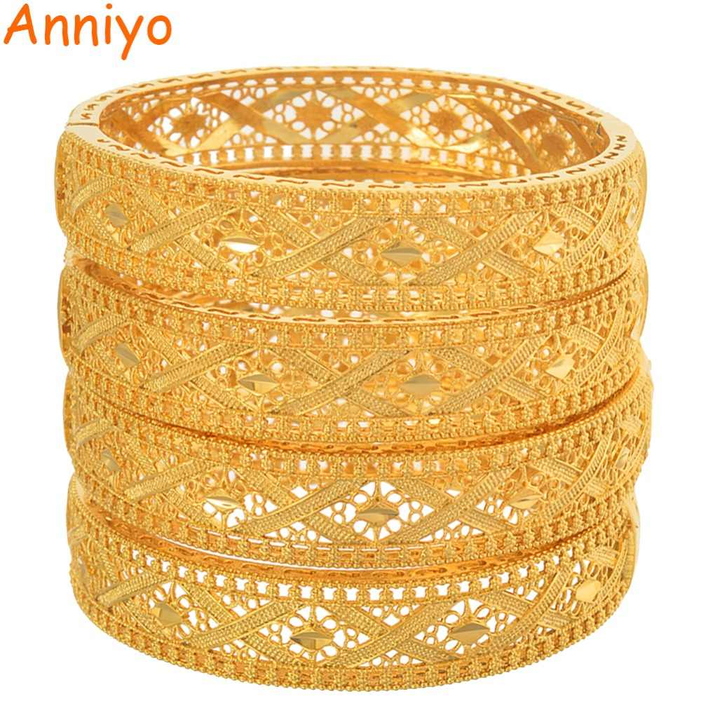 Anniyo 2019 New Bangles for Women Middle East Arab Dubai Bracelet African Gold Color Wedding Party Jewelry Mother Gift #166006