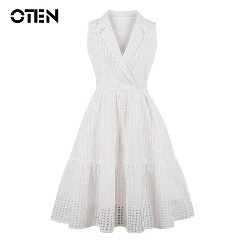 OTEN 2018 S 4XL Plus Size women summer clothes Sleeveless tartan Sexy Ladies party outfit Knee Length pin up Elegant White Dress