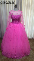 2017real Picture Tulle Ball Gown Pink Evenning Dress With Flowers Long Sleeve Dress For Evening Party