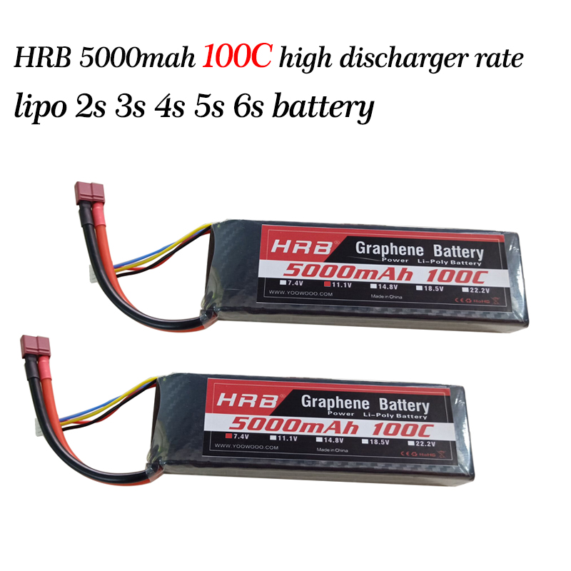 HRB <font><b>Lipo</b></font> Battery 2S 3S 4S <font><b>5S</b></font> 6S 7.4V 11.1V 14.8V 18.5V 22.2V <font><b>5000mAh</b></font> 100C Max 200C Graphene Battery High Discharger Rate For Car image