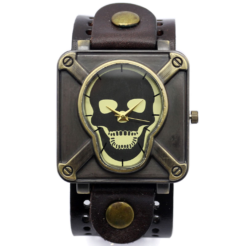 4 Color Leather Starp Band Skull Wrist Watch Men Women Gift Relogio Masculino 2017