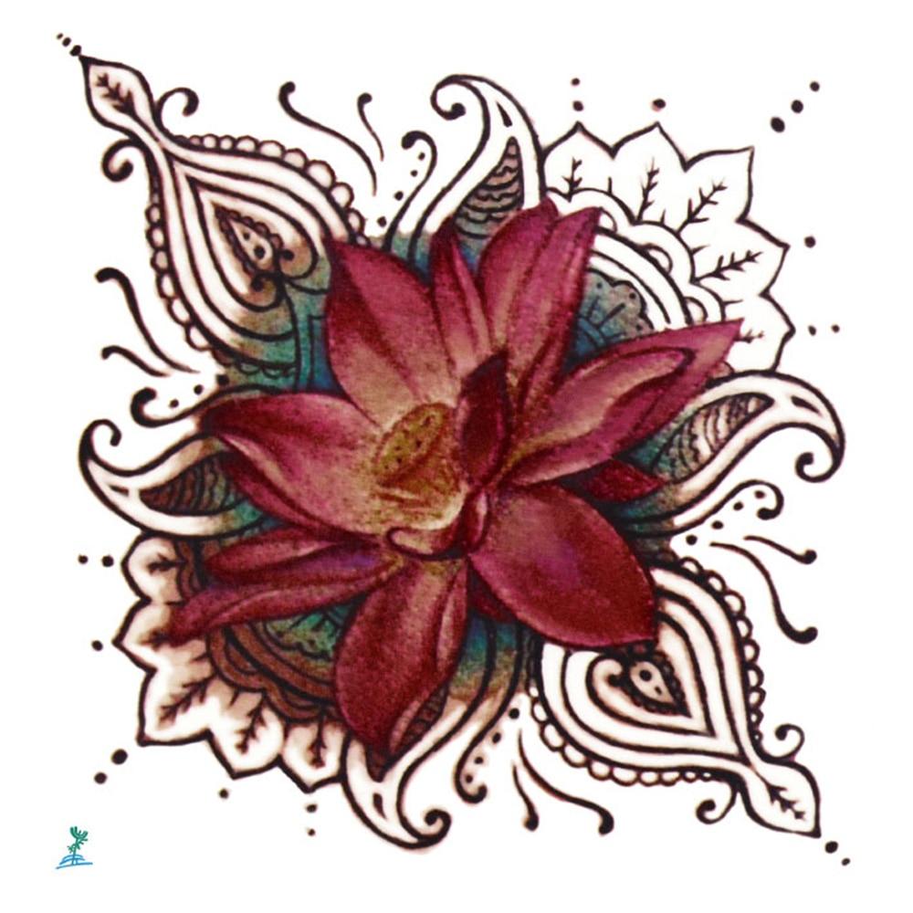 Blooming lotus designs women s - Yeeech Temporary Tattoos Sticker For Men Women Fake Sanskrit Lotus Blooming Designs Religious Tribal Sexy Body
