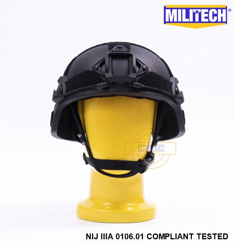 MILITECH Svart BK MICH NIJ Level IIIA 3A Taktisk Twaron Bulletproof - Säkerhet och skydd - Foto 2