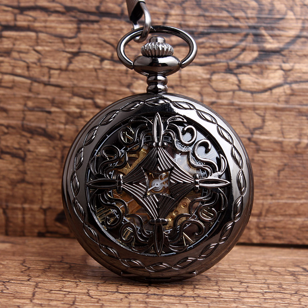 Vintage Black Full Steel Hollow Mechanical Pocket Watch For Mens Steampunk Skeleton Watches Hand Winding Mechanical Pocket Watch цена и фото