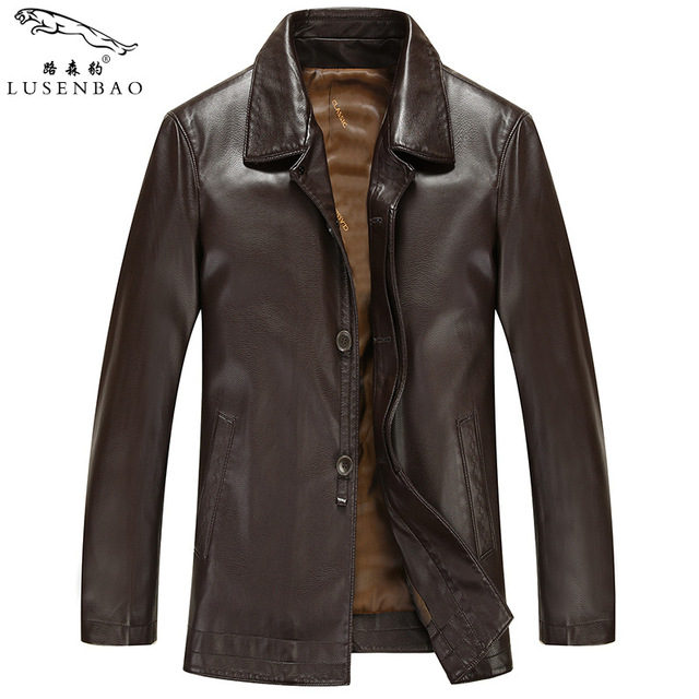 M-3X Leather Jacket Men 2016 Mens leather jackets sheep-skin coats High quality Slim Designer Casual winter  Leather Jacket Men