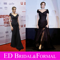 Angelina Jolie Black Dress at  Land of Blood and Honey Sarajevo Premiere Red Carpet Celebrity  Evening Gown Prom Dress