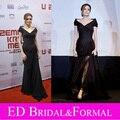 Angelina Jolie Dress negro en tierra de sangre y miel Sarajevo Premiere Red Carpet Celebrity vestido de noche vestido de fiesta