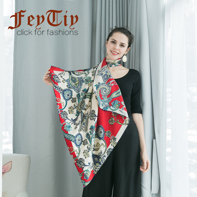 d086161fd1 Red Women Hijab 100% Pure Silk Scarf Floral Cashew Printed Shawl Hand  Rolled Color Block