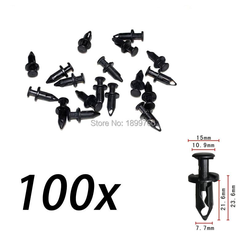 Set of 100 PCS ATV Retainer Clips 8mm Push Pin Splash Guard Body Panel For Honda