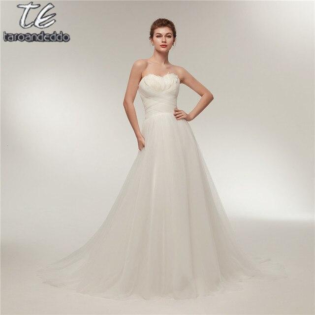 В наличии стиль пера свадебное платье трапециевидной формы крест-накрест Ruched Тюль Sexy Свадебные платья цена включает вуаль Vestidos De Novia