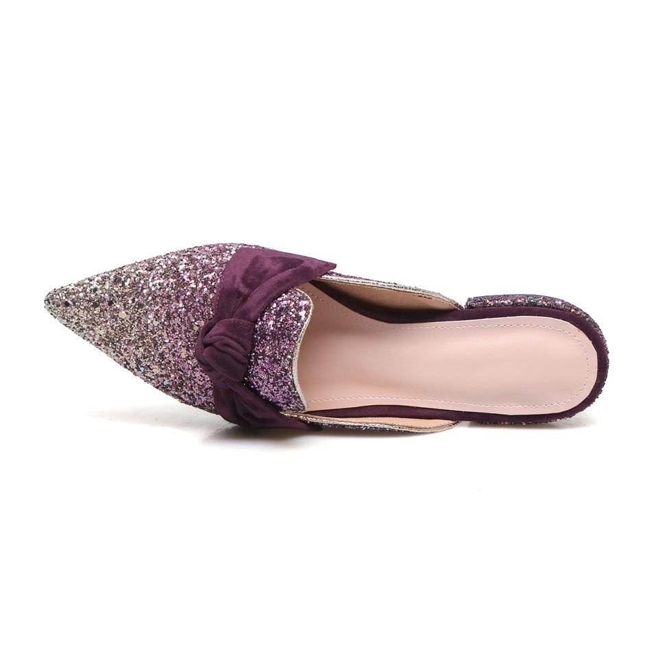 Zapatillas Cm Tacón azul Las Lentejuelas Cómodo 2 púrpura Zapatos Transpirable Mujeres Verano Mujer Interior 2019 Y Negro De Primavera Moda qYgFwF