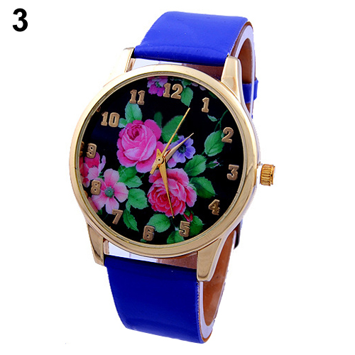 popular long life span casual wrist watch with rose flower. Black Bedroom Furniture Sets. Home Design Ideas