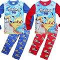 2016 Venda Quente das Crianças conjuntos de pijama Primavera & outono Pokemon Ir bebê dos desenhos animados menino conjunto de roupas pijama do Menino crianças Sleepwear