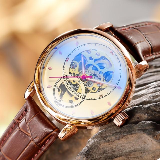 Relojes Hombre 2019 Thiết Kế Mới ORKINA Đồng Hồ Cơ Dây Da Tự Động/Dây Lưới Thép Không Gỉ Đồng Hồ Relogio Masculino