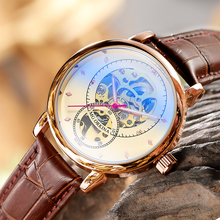 Relojes Hombre 2019 تصميم جديد سكينا الهيكل العظمي ساعة ميكانيكية التلقائي جلد/شبكة من الاستانلس استيل حزام Relogio Masculino
