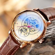 Relojes hombre 2019 novo design orkina esqueleto relógio mecânico automático de couro/aço inoxidável malha cinta relogio masculino