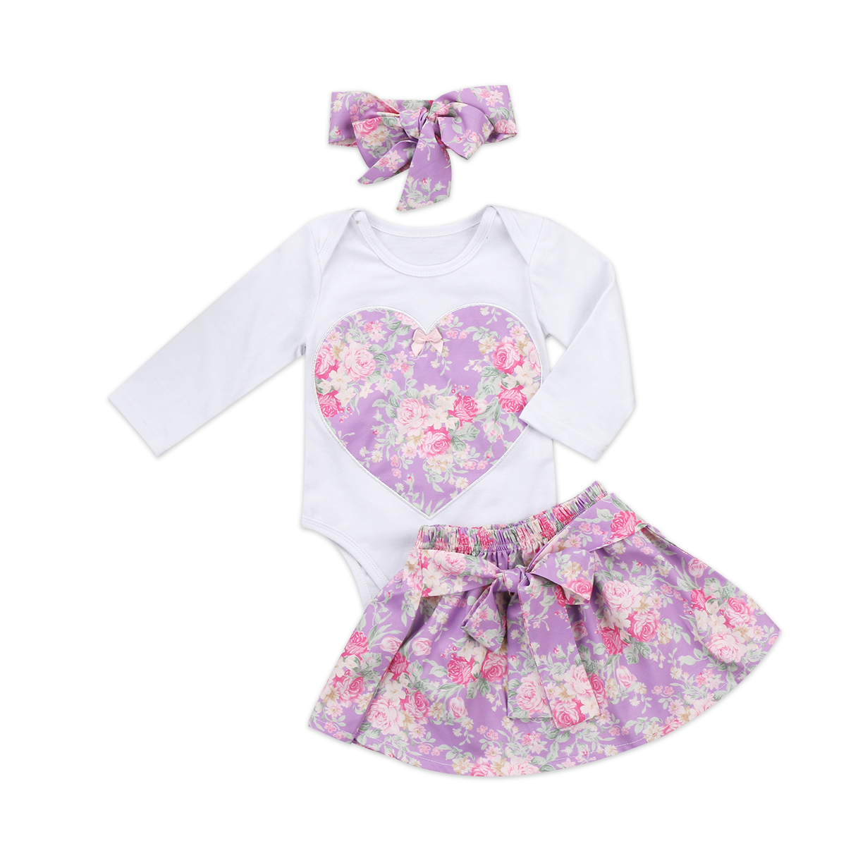 Baby Girls Clothes Sets Outfits Long Sleeve Tops Bodysuits Cotton Flower Skirts Headbands Floral 3pcs Clothing Baby Girl princess toddler kids baby girl clothes sets sequins tops vest tutu skirts cute ball headband 3pcs outfits set girls clothing