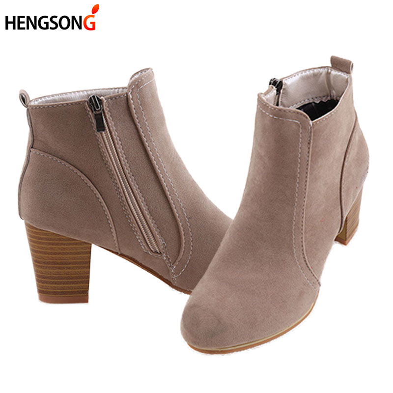 Fashion Spring Autumn Women Ankle Boots Pointed Toe Zipper Thick Square Heel Martin Boots Ladies Worker Boots Black Size 35-40 women spring autumn thick mid heel genuine leather round toe 2015 new arrival fashion martin ankle boots size 34 40 sxq0902