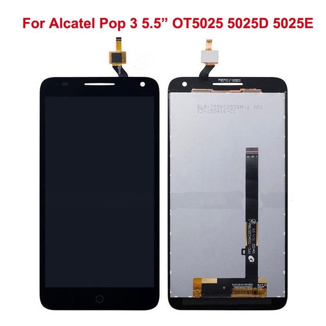 Para alcatel pop3 (5.5) ot5025 5025d 5025e 5025g 5025n 5025x assembléia display lcd com digitador da tela de toque preto sensor de vidro