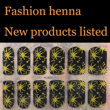 Sex products Gold henna Nail Art Water Transfer Stickers Mixed Designs Watermark nails tips Decals Wraps Nail Art Tools