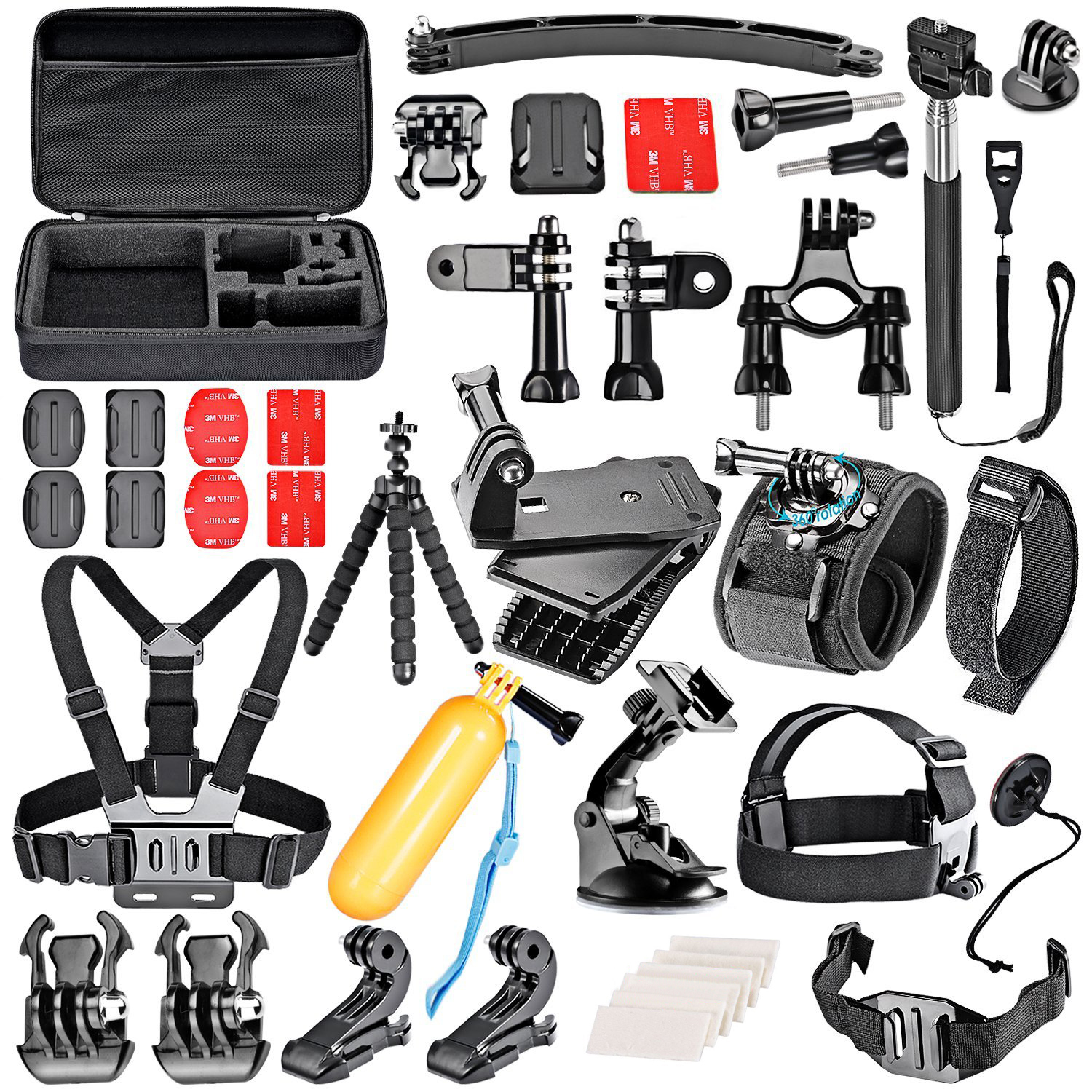 50-In-1 Sport Accessory Kit for GoPro Hero4 Session Hero1 2 3 3+ 4 SJ4000 For Xiaomi Yi in Rowing Diving and Other