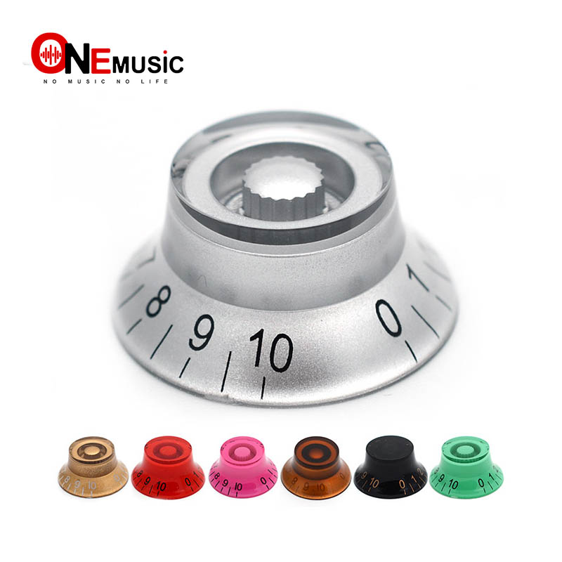 4pcs colorful Top Hat Speed Control plastic material Transparent hand guitar knobs For Electric Guitar