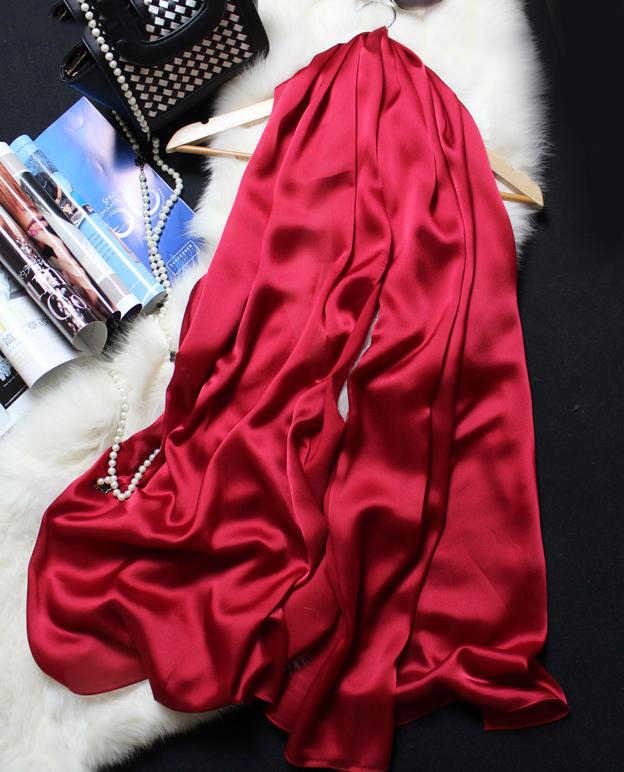 ผ้าพันคอผ้าพันคอผู้หญิงผ้าไหมธรรมชาติ 100% Wrapsผ้าคลุมไหล่และผ้าพันคอ 180*90 ซม.Hijabs SoliderสีBeach Cover Up
