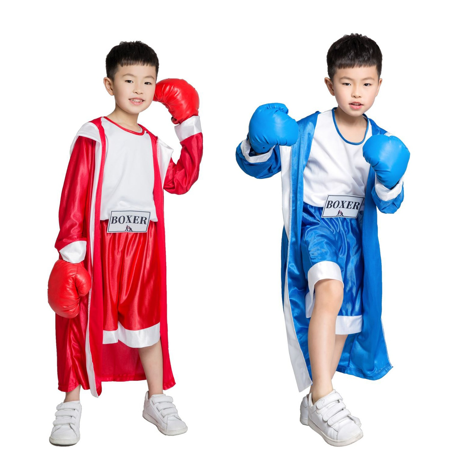aa08b0b0334 Children Boy Red BLUE Rocky Balboa Boxer Costume Clothes Jumpsuit with  Cloak Movie Boxing Robe Party