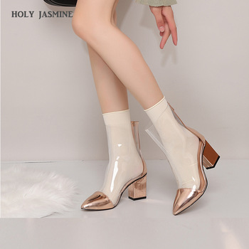 women boots high heels mid calf boots peep toe women shoes 19cm sexy lady party club pvc platform shoes zapatos mujer size 34 47 2019 Summer New Sexy PVC Transparent Boots Sandals Peep Toe Kim Kardashian Shoes Clear Chunky heels Sandals Mujer Women Boots