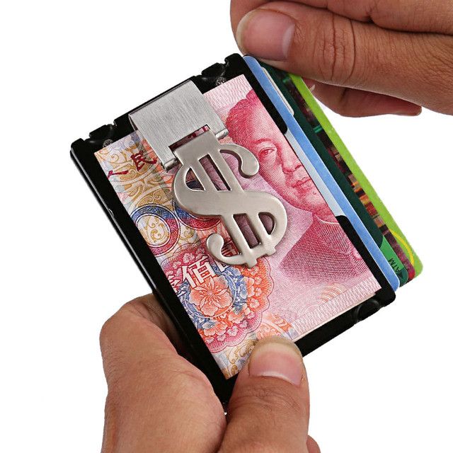 Aelicy Metal Wallet Mini Money Clip Brand Credit Card ID Holder With RFID Anti-chief Wallet 2019 New Design Solid Male Wallet L 2