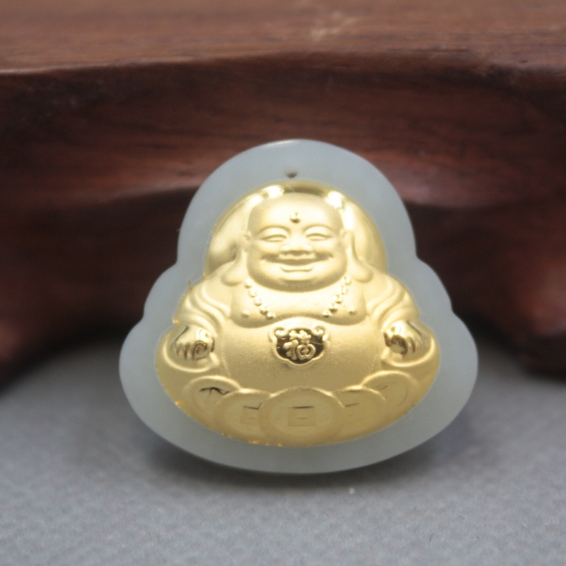 New 24K Yellow Gold Natural Jadeite Jade Women Men Coin Buddha Round Bless Pendant 26x27mm