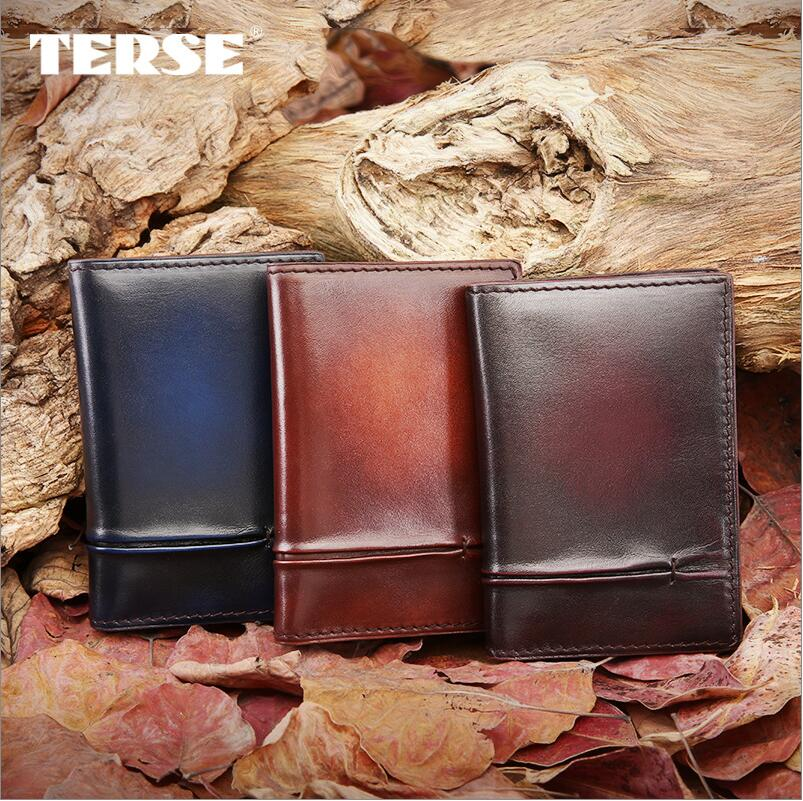 TERSE_100% genuine leather wallet Bifold slim men credit card holder ID card wallet Luxury style Business Card Holder dropship