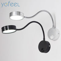 LED Silver Bedroom Bedside Lamp Reading Wall Lamps With Knob Switch 3W 90 260V Mirror Corridor