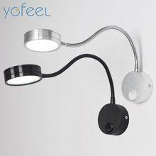 [YGFEEL] LED Lâmpadas de Parede Com Interruptor de Botão de 5 W AC90-260V Luz de Leitura de Cabeceira Do Quarto de Prata Direção Ajustável Interior iluminação