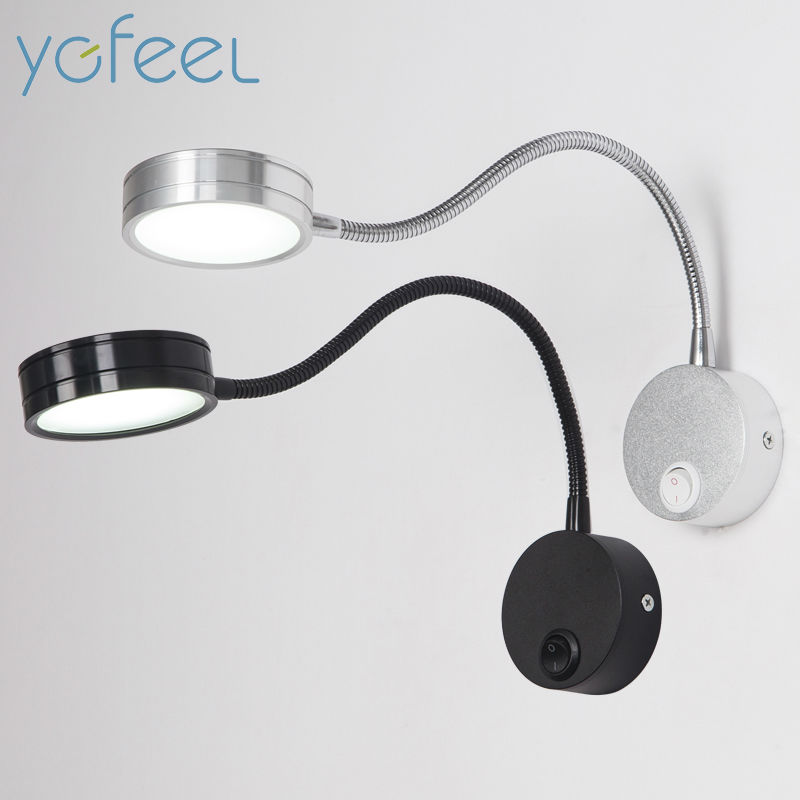 [YGFEEL] LED Wall Lamps With Knob Switch 5W AC90-260V Silver Bedroom Bedside Reading Light Direction Adjustable Indoor Lighting