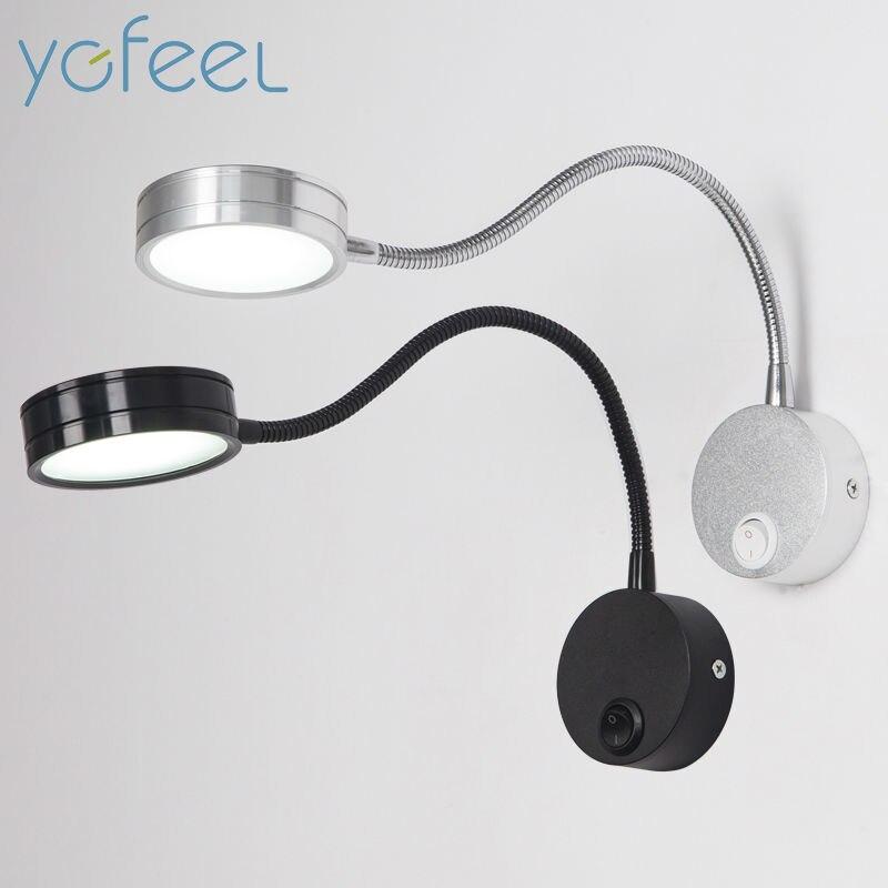 [YGFEEL] LED Wandleuchten Mit Knebelschalter 5 Watt AC90-260V Silber Schlafzimmer Nachtleselampe Richtung Einstellbar Indoor beleuchtung