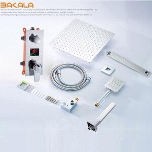 Image 5 - Квадратная хромированная насадка для душа BAKALA, смеситель для ручного душа, смеситель для ванной, Набор смесителей для душа, термостатический смеситель для душа