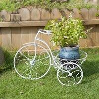 유럽 철 벽화 꽃 크리 에이 티브 거실 발코니 벽 매달려 흰색 자전거 작은 바구니 가방 메일