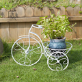 European iron mural wall flower creative living room balcony wall hanging white bike small basket bag mail