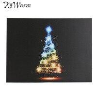 カラフルなクリスマスツリーミニledライト発光キャンバス絵画アート画像ギフトホームリビングルームホテル壁の装飾30*40セン