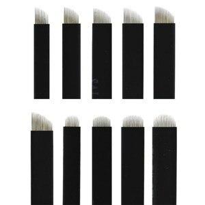 Image 5 - 500 Pcs 0.18mm להגמיש ננו Laminas Microblading Tebori Agulha 12/14/18 U צורת מחט קעקוע גבות Microblading להבים שחור
