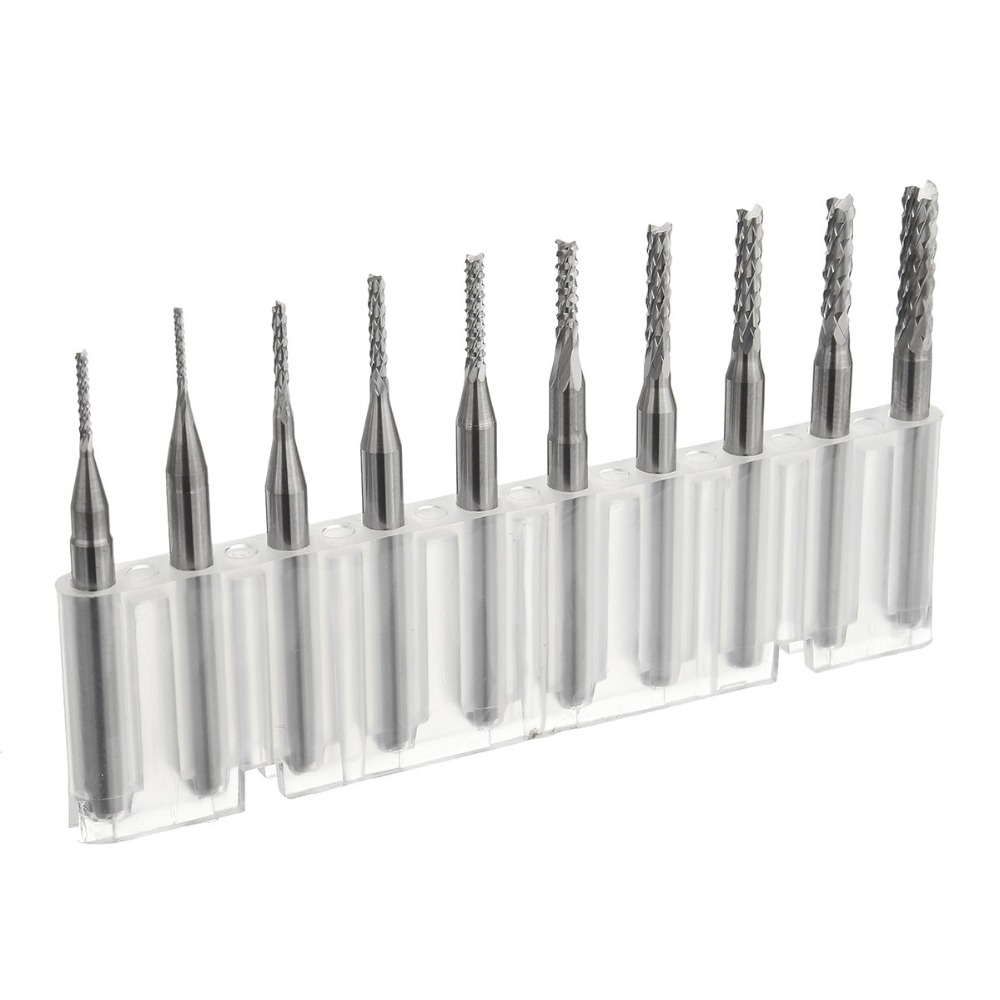 Best Price 10pcs/set 1/8 Inch 0.8-3.175mm PCB Engraving Cutter Rotary CNC End Mill Drill Bit Bits Hot Sale 10pcs 1 2mm tungsten steel titanium coat carbide end mill engraving bits cnc pcb rotary burrs milling cutter drill bit